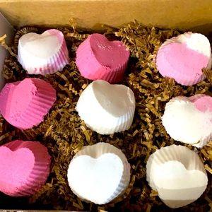 Custom Heart shaped bath bombs- set of 9